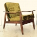 Mid Century Solid Wood Lounge Chair Green Velvet